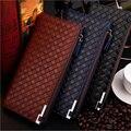 Patrón trenzado de la cremallera del diseño carteras de marca monedero por mayor de primera clase PU bolso de cuero larga de cuero carteras envío gratis