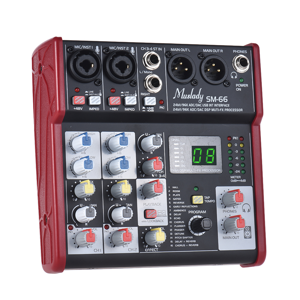 Muslady SM 66 Portable 4 Channel Sound Card Mixing Console Mixer Built in 16 Effects with USB Audio Interface-in Electric Instrument Parts & Accessories from Sports & Entertainment    1