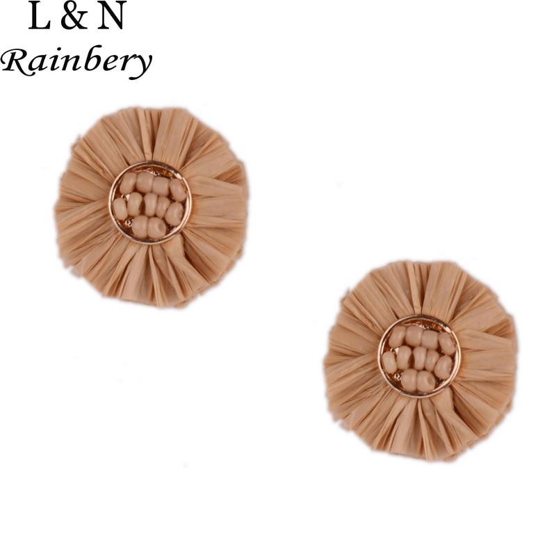Rainbery RAFFIA Palm Earrings Bohemia 2018 News Week Designer Hyperbole Party Creative Women Jewelry Stud Earrings JE0785