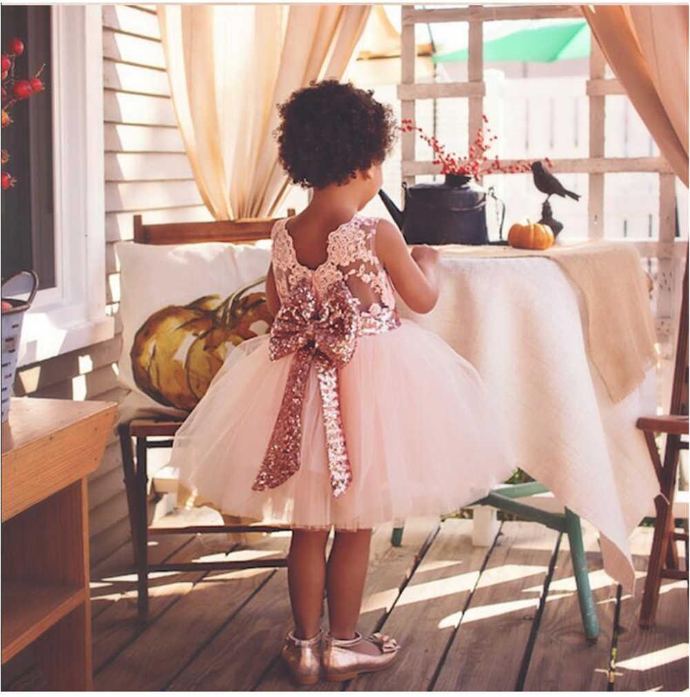 65c4cdbcbb1b0 Baby Girl Backless Summer Dress for Girl Vintage Sequin Tutu Dress Toddler  Christening Infant Baptism Bebe 1 Year Birthday Dress