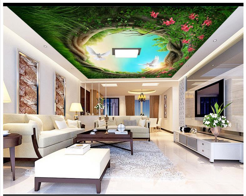 3d Wallpaper Custom 3d Ceiling Wallpaper Murals Tree Hole Frescoes
