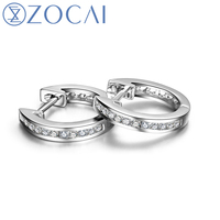 ZOCAI 2016 New Arrival 0 13 CT Real Diamond Genuine 18K White Gold Au750 Hoop Earrings