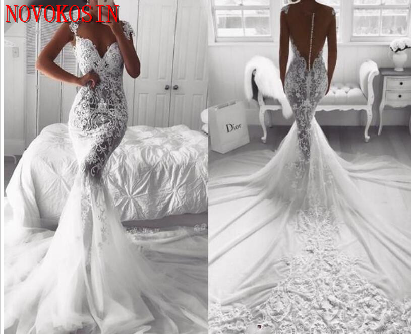 Robe De Mariage 2019 Mermaid Wedding Dress V Neck Back