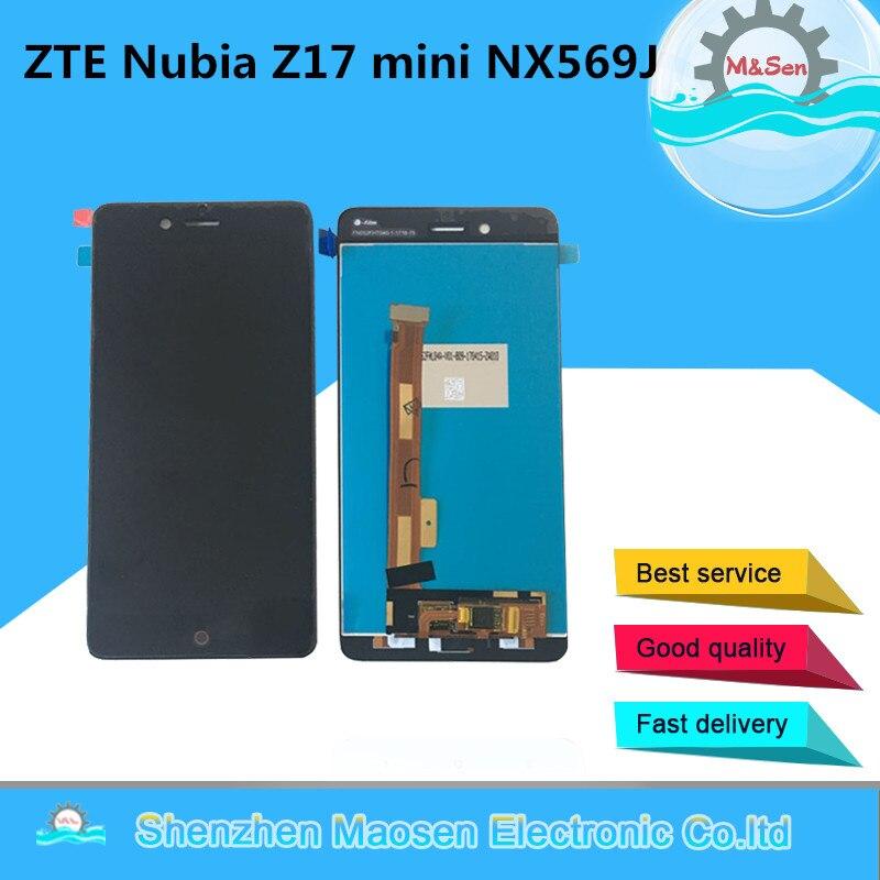 M & Sen Para 5.2 ZTE Nubia z17mini Z17 mini NX569J NX569H LCD screen display + touch panel digitador black white para Z17 mini + ferramentas