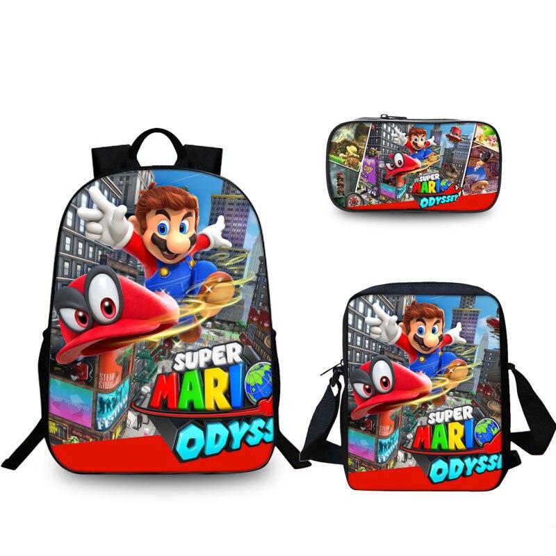3 pcs/ensemble Sac D'école Super Mario Bros Sonic Sac À Dos Enfants Combinaison Bookbag Garçons Filles École Sac À Dos Quotidien Mochila