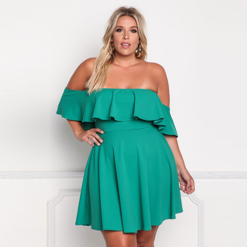 2018 off the shoulder plus size dress summer women ruffles