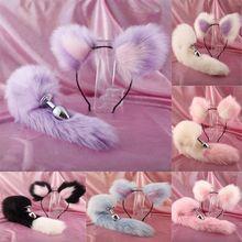 Cute Soft Cat ears Headbands with 40cm Fox Tail Bow Metal Butt Anal Plu