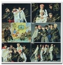 A mano firmato Bangtan Ragazzi V SUGA J HOPE Jung Kook JIN JIMIN RM autografata foto di gruppo 5*7 072019