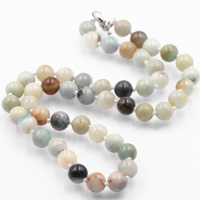 Home St0317 2016 Hottest Handmade Long Necklace 72 Inches Knotted Amazonite Necklace Popular Amazonite Stone Jewelry