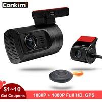 Conkim Car DVR With Two Camera GPS Car Video Recorder 1080P Full HD Novatek 96663 Dual Lens Hidden Dash Camera Mini 0906