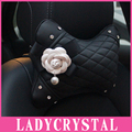 Ladycrystal High Quality PU Leather Home Pillows Car Interior Heardrest Neck Pillows Auto Styling Camellia Decor Accessories