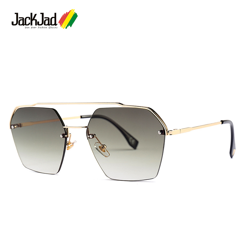 JackJad 2020 Fashion Semi-Rimless Hexago Style Rivets Sunglasses Women Gradient Brand Design Sun Glasses Oculos De Sol 25034