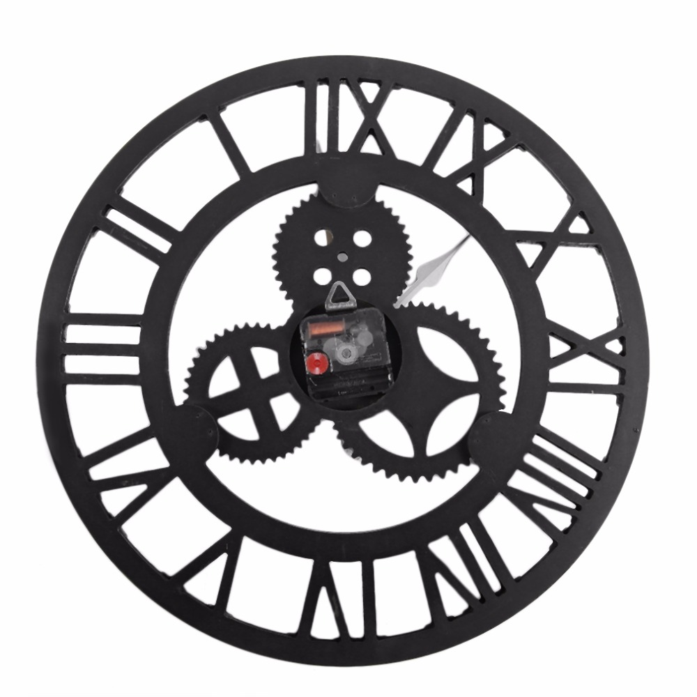 2 colors vintage oversize wall clocks large hollow hanging artistic roman number fashion decoration industry style