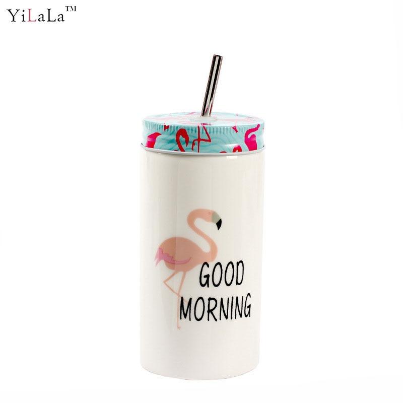 1PC New creative Flamingo ceramic coffee juice tea mug cup with lid straw porcelain mug cup drinkware gifts