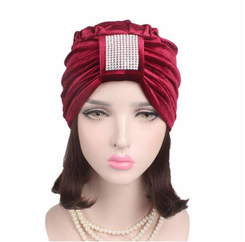 2017 Fashion women winter warm hats soft velvet India hat Luxury rhinestone Turban hats Beanie crochet head wrap women hat cap pastoralism and agriculture pennar basin india