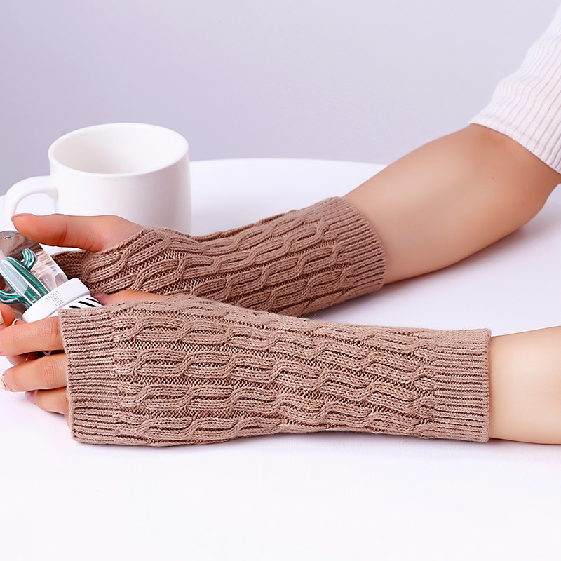 Women Combing Fine Wool Cable Fingerless Gloves Thumb-hole Thick Knitted Arm Warmers Arm Sleeve 2018 Autumn Winter Fashion