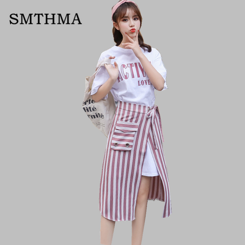 SMTHMA 2019 New Fashion Summer Women's Letters Long T-shirt + Split Striped Two Piece Female Casual Skirt Suits 1