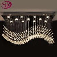 Free Shipping Rectangle Crystal Lamp For Home Large Modern Wave Design Living Room Crystal Chandelier LED