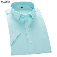 422761162 Pauljones 2018 جديد قمصان قصيرة الأكمام الرجال الصيف أسود أبيض الصلبة حك  مخطط قمصان الاجتماعية الذكور الأعمال البنفسجي الأخضر ال.