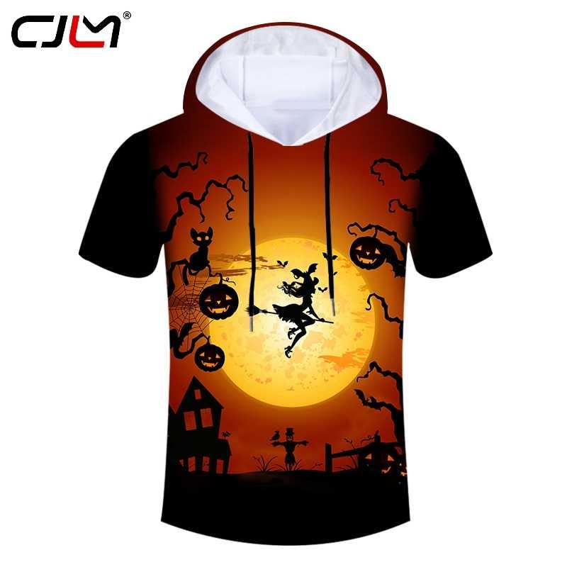 CJLM ขนาดใหญ่ผู้ชาย Hooded Tshirt 3D ฟักทองและไม้กวาดแม่มดพิมพ์ฮาโลวีนเสื้อผ้าซัพพลายเออร์แบรนด์ผู้ชายเสื้อยืด