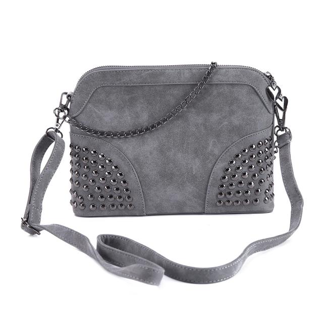 DIDA BEAR 2017 Women Shoulder Bag Nubuck Leather Crossbody Bags Women's Fashion Bag Girls Rivets Handbags Purse Femme Sac Gray