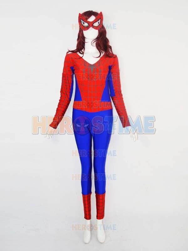 Female Version Low Neck Spiderman Costume Spandex Halloween Cosplay Spider Women Superhero Zentai Suit  free shipping