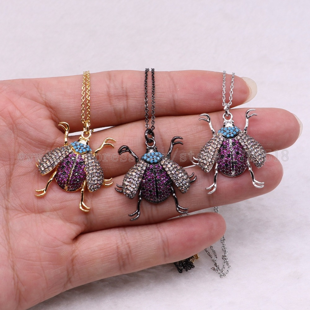 5 strands bugs necklace Insects bee pest pendants necklace small size jewelry 18 mix color necklace pets beads 3037