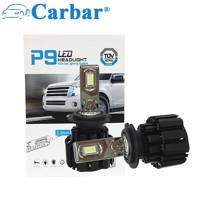 Carbar# 2Pcs P9-H7 Automotive LED Headlight Bulbs H7 LED Conversion Kit 6000k Cool White (Lifetime Replacement Warranty) H7