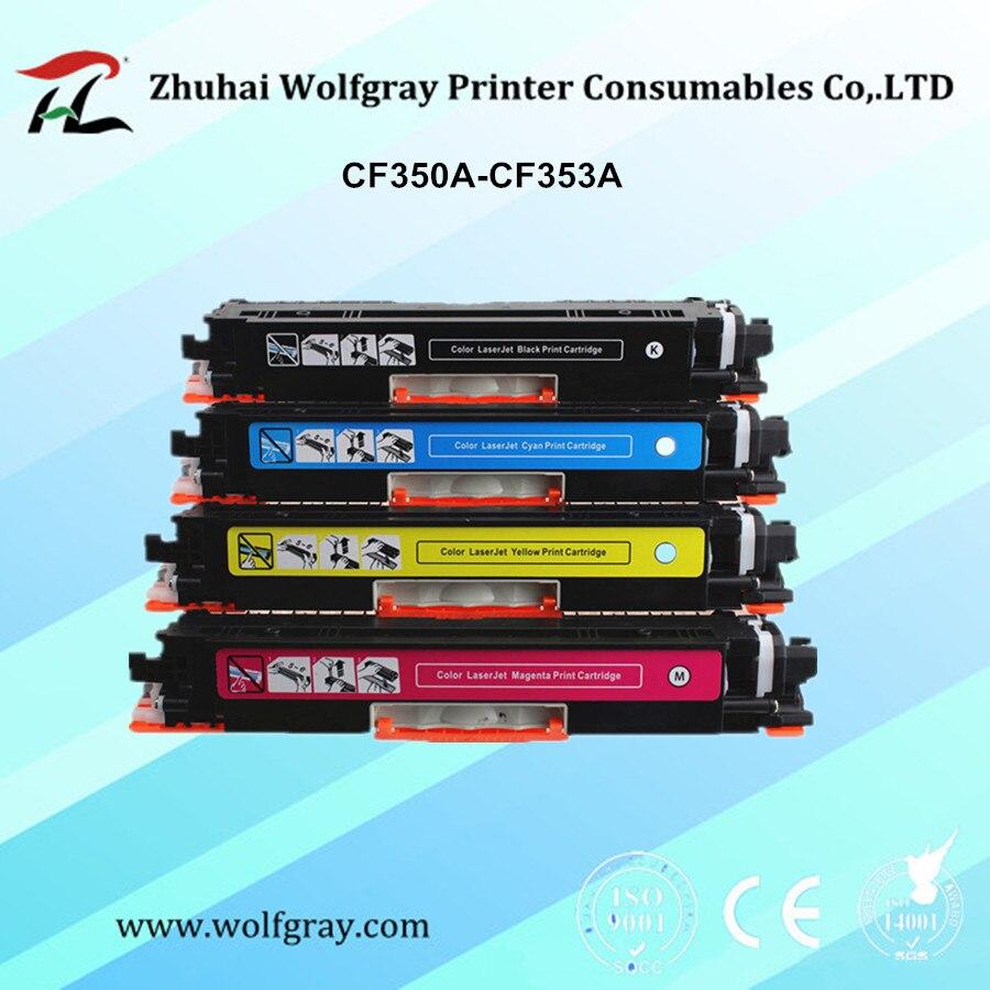 Chip for hp colour cf 400 a cf 400 m252dw m 277n m 252 mfp 252 n - One Set Cf350a Cf350 350a Cf351a Cf352a Cf353a 130a Color Toner Cartridge For Hp Laserjet Pro