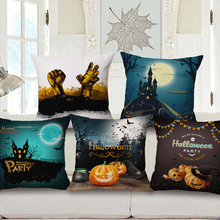 Decoración de Lino del Algodón Funda de Cojín 45X45 Cm Capa de ropa de Cama Sofá Throw Pillow Case Dlmofada Tema de calabaza de Halloween patrón