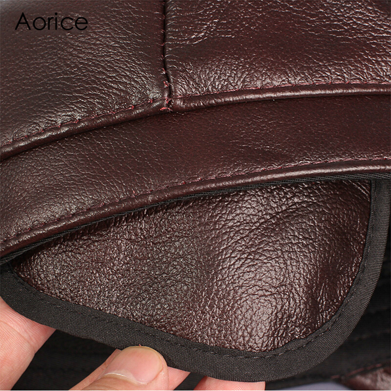 Aorice Genuine Leather Baseball Cap Mens Hats And Caps Autumn Winter Solid  Color Brown Black Leather Cap Leisure Fashion HL059-in Baseball Caps from  Apparel ... dbcb0cd83586