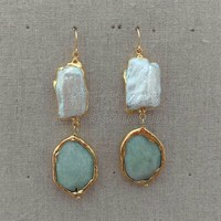 E041520 Biwa Pearl Amazonite Plated Hook Earrings