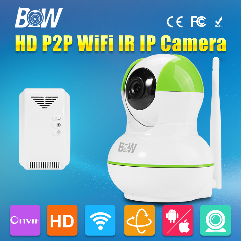 ФОТО HD 720P IP Concealed Camera P2P Wireless Wifi Sensor Detector Automatic Alarm Systems Security CCTV + Gas Detector Indoor Onvif
