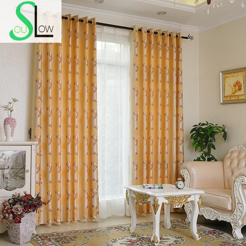 Slow Soul Pink Gold Jacquard Curtain Europe Floral