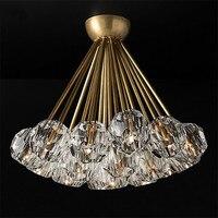 Роскошный Американский RH деко светодиодная люстра Блеск Освещение в помещении Потолочная люстра с украшением в виде кристаллов абажуры G4 л