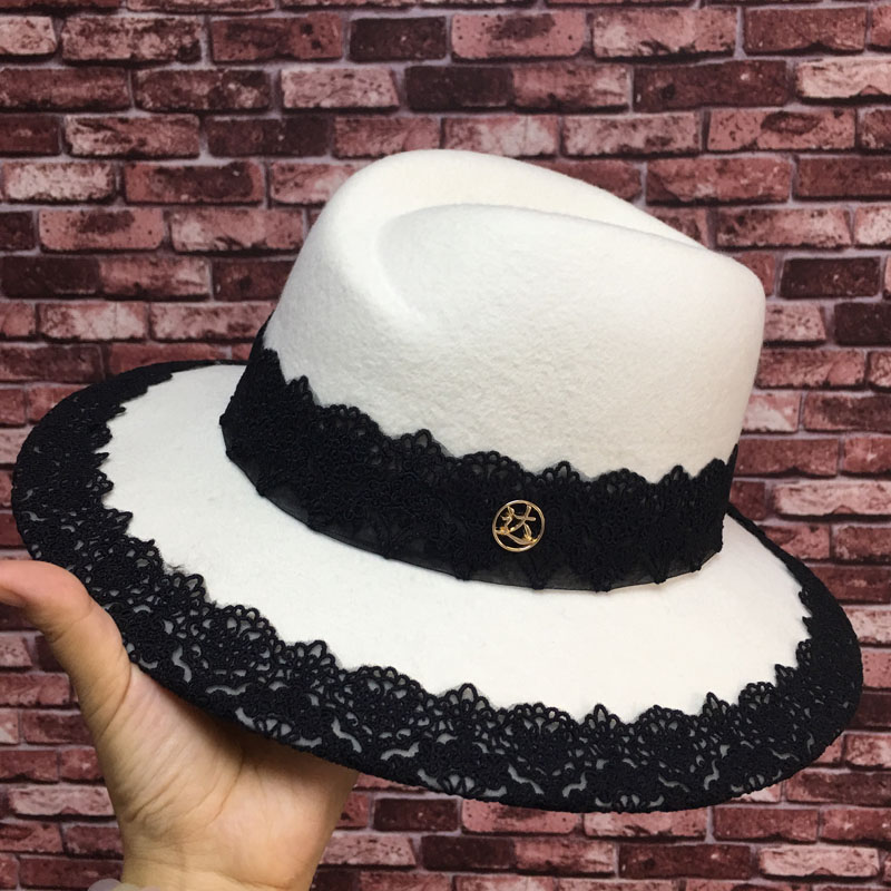 Han edition hat new winter white different cloth lace decoration elegant temperament joker bonnet