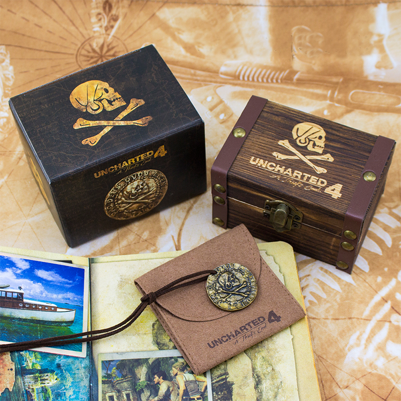PS4 Uncharted 4 Pirate Gold Coin Game Anime Hot Toys Birthday Gifts For Kids With Limited Sheepskin Bag And Wooden Box 3d magical coin intellect maze ball kids amazing balance logic ability toys educational iq trainer game for kids chirstmas gifts