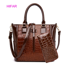 2pcs Leather Bags Alligator Handbags Women Famous Brand Shoulder Bag Female Casual Tote Messenger Set Bolsas Feminina