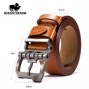Image 5 - BISON DENIM Brand Belt For Men Cowskin Genuine Lether Pin Buckle High Quality Male Strap Vintage Jeans N71223