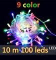 2016 Año Nuevo Guirnalda de Navidad LED cadena de luces de colores a prueba de agua lámpara 10 m 100 LED 220 V con conector de 8 modos de luz de LA UE