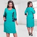2017 женщин платья плюс размер 6xl Осень dress O-образным Вырезом Лоскутное dress случайные женщины платья больших размеров платье-де-феста