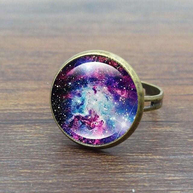 XUSHUI XJ Galaxy Space Glass Cabochon rings for women men fashion Jewelry Antiqu