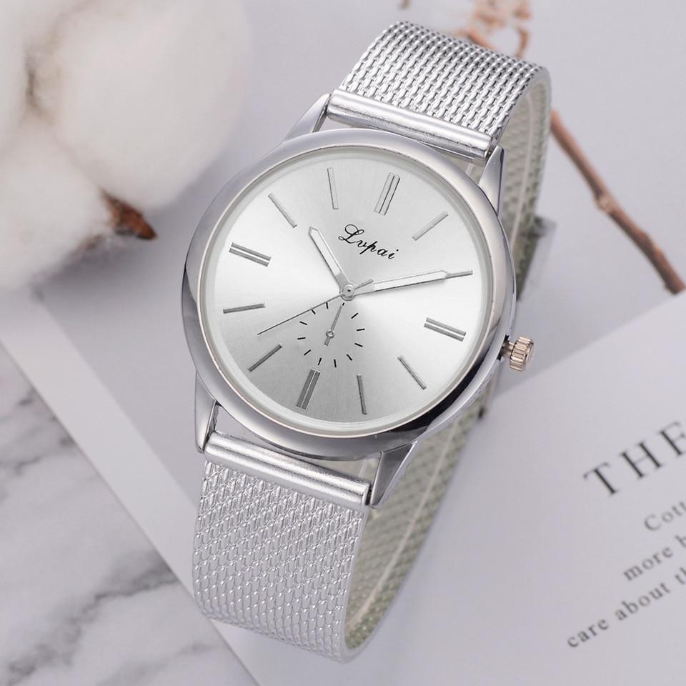 Lvpai Brand Ladies Wrist Watch Luxury Silver Silicone Strap Creative Dress Quartz Clock Fashion Simple Silver Bracelet Watches