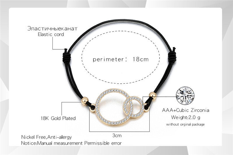 Simple Design Round Two Circles Crystal Charms Bracelet for Women Elastic Rope Adjustable Chain Bracelet Dropshipping 2018 new 20