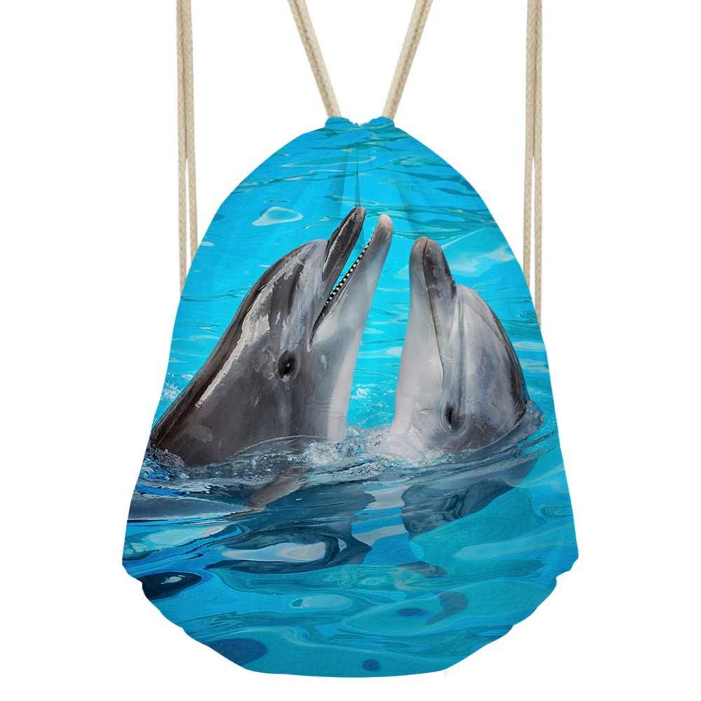 5a3c19b5a1 FORUDESIGNS Women Small Drawstring Bag Fish Dolphin Shark Printed Gym Bag  Sport Backpack Storage Bag For