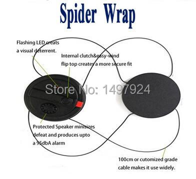 2017 Hot selling 50pcs EAS 3 alarms security spider wrap tag  for electronic items+1 pc EAS spider detacher