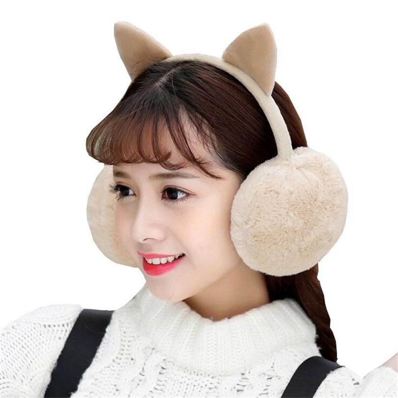VISNXGI Winter Warm Earmuffs Faux Fur Ear Muffs Cute Cat Ear Earflap Rabbit Fur Earmuff For Girls Ear Flap Ladies Plush Muffs