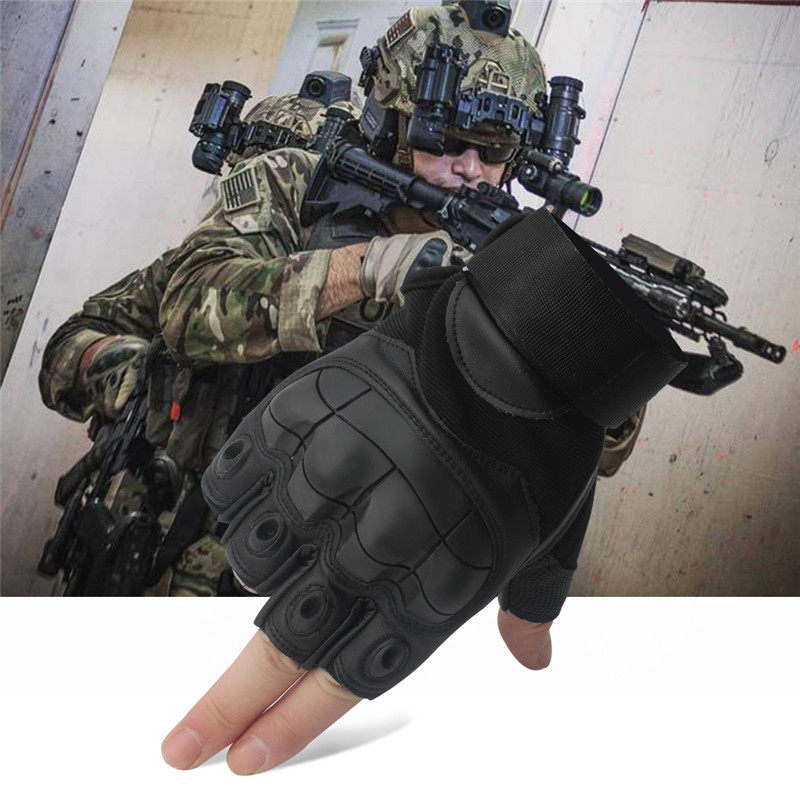 Image 4 - Leather Half Finger Hard Knuckle Summer Motorcycle Gloves Outdoor Sports Motorbike Motocross Moto AVT Biker Riding Tactical-in Gloves from Automobiles & Motorcycles