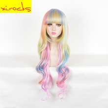 3197 Halloween Party Colorful For Women Long Wavy Ombre Synthetic Wigs High Temperature Fiber Hair Cosplay Wigs Free Shipping