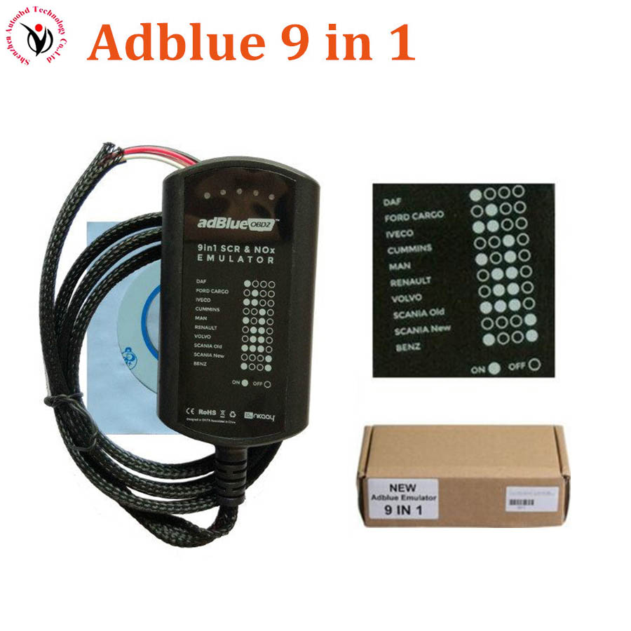 High Quality Adblue Emulator 9 in 1 Diesel Truck Diagnostic AdBlue Emulation 9in1 For Trucks Buses and Heavy Vehicles EURO 4& 5